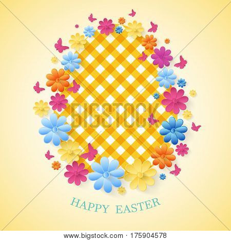 Happy Easter Day greeting card. Easter spring background, frame with flowers and butterflies.On a light green background.