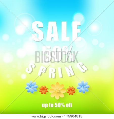 Spring sale background Abstract spring background with paper flowers.Spring 50 discount.