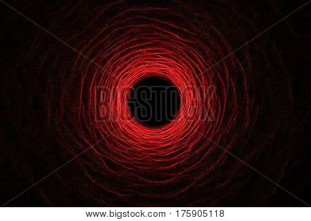 Abstract speed tunnel warp in space, wormhole or black hole, scene of overcoming the temporary space in cosmos, 3d rendering
