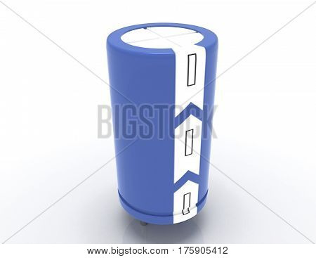 3d detailed electrolytic capacitor. 3d rendered illustration