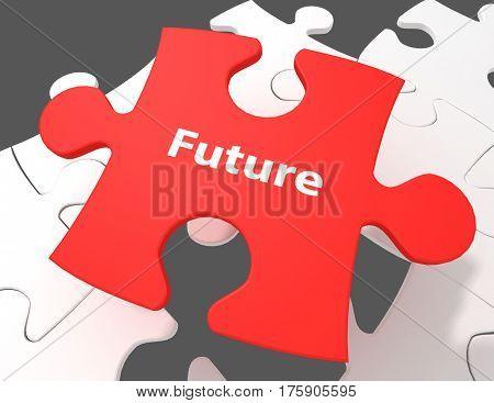 Timeline concept: Future on White puzzle pieces background 3d render