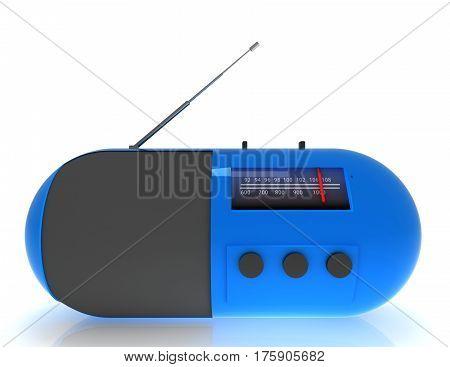 3d radio concept on white background. rendered illustration