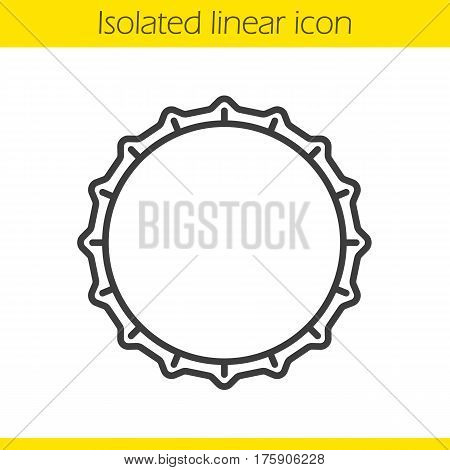 Beer bottle cap linear icon. Thin line illustration. Contour symbol. Vector isolated outline drawing