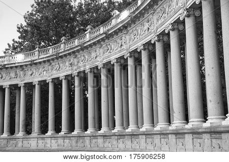 Madrid (Spain): the Park of Buen Retiro at evening. Palace colonnade. Black and white