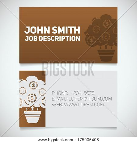 Business card print template with money tree logo. Easy edit. Businessman. Investor. Financier. Stationery design concept. Vector illustration