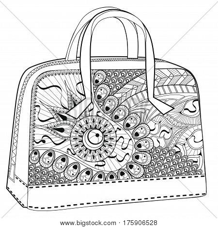 Bag. Coloring for grown ups.  Coloring for relaxation.  White background. Fashion.