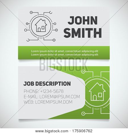 Business card print template with smart house logo. Easy edit. Real estate. Stationery design concept. Vector illustration