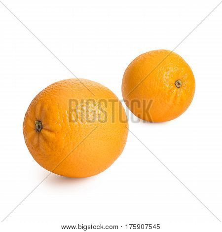 Ripe, fresh oranges isolated on white background. Perfectly retouched with clear details. Full depth of field. Fruit photographed in Studio on white background