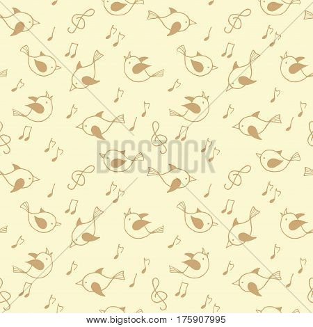 Seamless pattern with cute birds. Vector illustation.