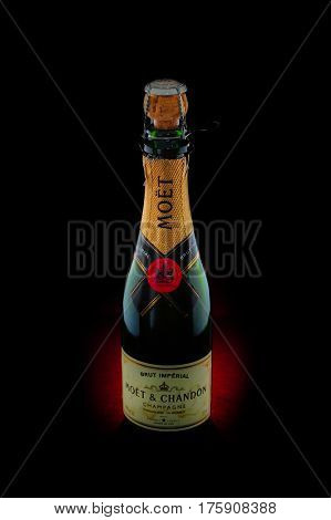 Toronto, Ontario, Canada - October 20, 2016: Photo of a bottle of Moet & Chandon Champagne. Moet et Chandon was established in 1743 by Claude Moet.