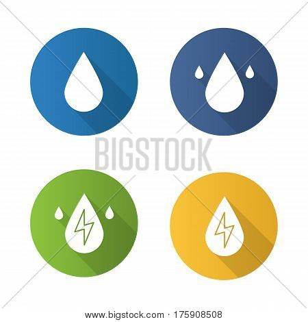 Water energy. Flat design long shadow icons set. Water drops. Vector silhouette illustration