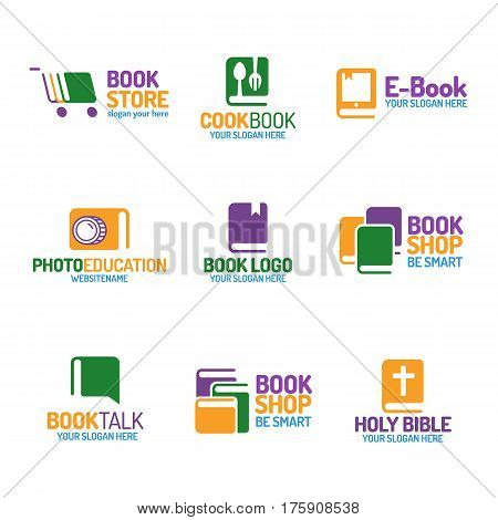 Book logo set flat color style isolated on background for use bookshop, bookstore, cookbook, booktalk, photoeducation, market, sale etc. Vector Illustration