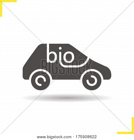 Bio car icon. Drop shadow silhouette symbol. Eco friendly automobile. Negative space. Vector isolated illustration