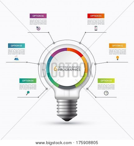 Lightbulb infographic template with 6 options. Creative business startup concept. Can be used as circular chart, cycle diagram, graph, workflow layout for report, web, presentation. Vector background
