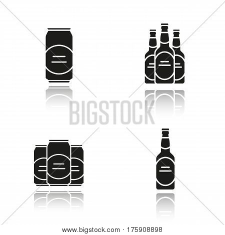 Beer drop shadow black icons set. Beer bottles and cans. Isolated vector illustrations