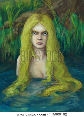 Fantasy creature of slavic myths living in swamps poster
