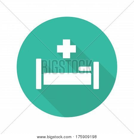 Hospital flat design long shadow icon. Hospital bed with medical cross. Vector silhouette symbol