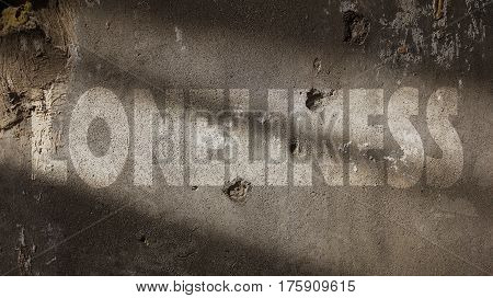 Loneliness Written on a Damaged Concrete Wall