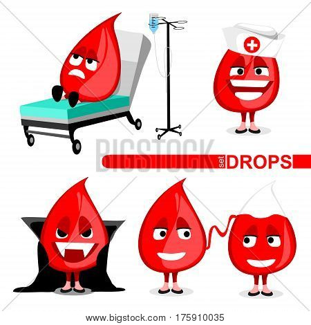 set of blood drops. isolated vector illustration