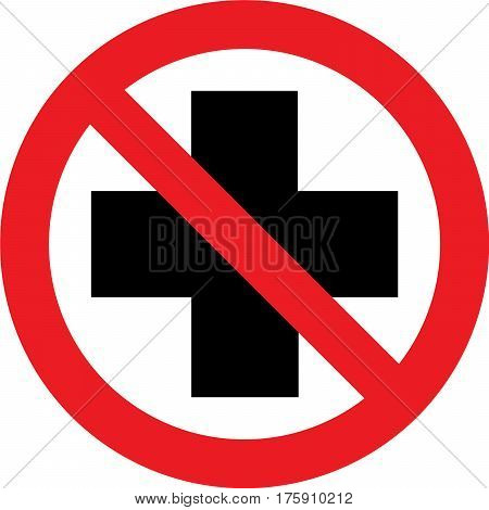 No first aid available sign on white background