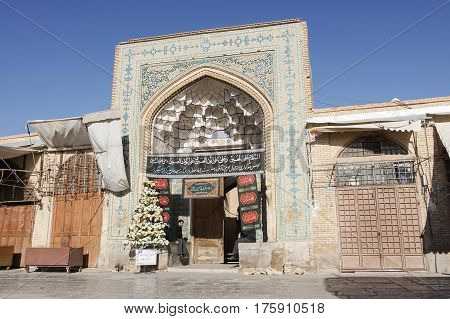 ISFAHAN, IRAN - OCTOBER 13, 2016: Jame Mosque during Moharram on October 13, 2016 in Isfahan, Iran