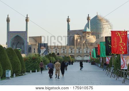 ISFAHAN, IRAN - OCTOBER 11, 2016: Imam Mosque on Meydan-e Imam during Moharram on October 11, 2016 in Isfahan, Iran