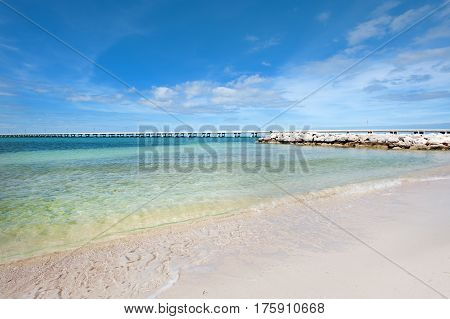 Pristine sandy beach and clear water in Bahia Honda state park, Florida Keys
