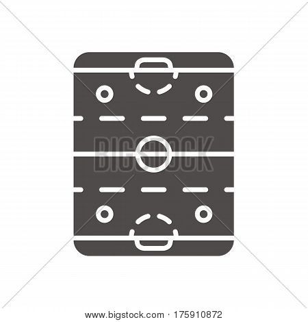 Ice hockey rink icon. Silhouette symbol. Hockey stadium scheme. Negative space. Vector isolated illustration