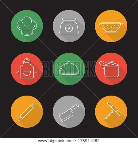 Kitchenware flat linear long shadow icons set. Chef's hat, kitchen food scales, colander, apron, covered dish, steaming stew pot, rolling pin, cleaver, corkscrew. Vector line illustration
