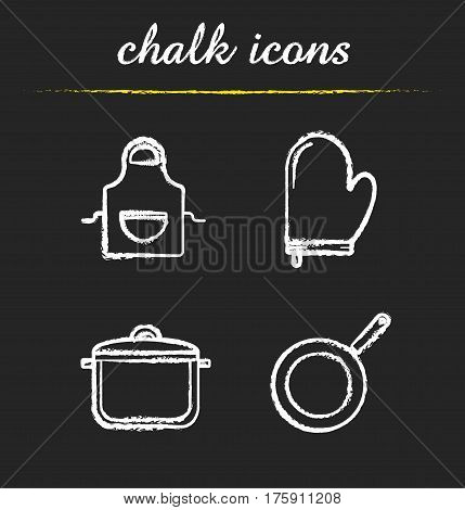 Kitchen tools chalk icons set. Kitchenware. Cooking apron, oven mitt, saucepan with lid, frying pan. Isolated vector chalkboard illustrations