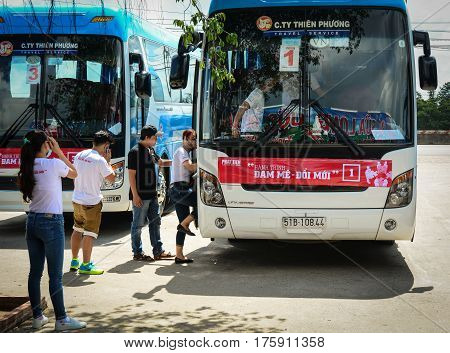 Long-distance Buses Wait To New Trip