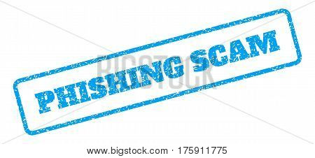 Blue rubber seal stamp with Phishing Scam text. Glyph tag inside rounded rectangular banner. Grunge design and dust texture for watermark labels. Inclined sign on a white background.