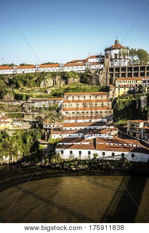 View over Mosteiro da Serra do Pilar from the other side of the Douro river, Porto, Portugal