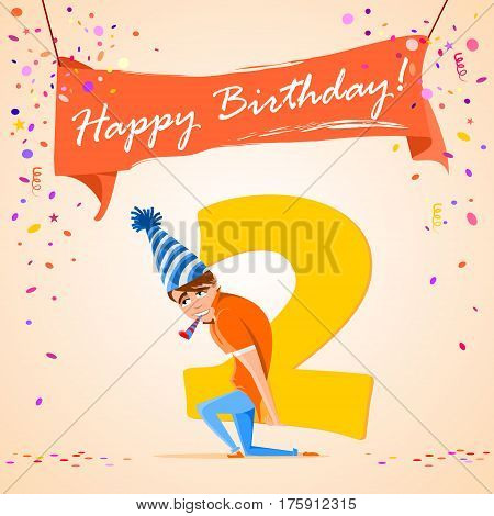 confused boy holding the number 2 on a colorful background. banner Happy Birthday. vector illustration.