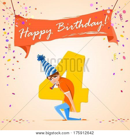 confused boy holding the number 4 on a colorful background. banner Happy Birthday. vector illustration.