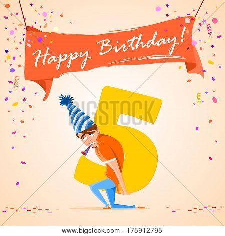confused boy holding the number 5 on a colorful background. banner Happy Birthday. vector illustration.