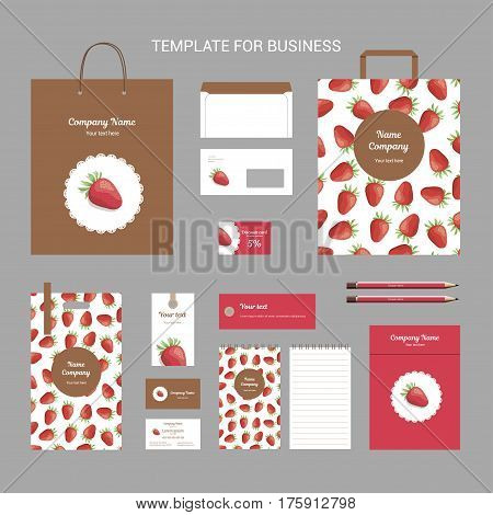Set of corporate identity for bakery, shop, cafe or restaurant, strawberry and round napkin on brown background, branding business template, vector illustration