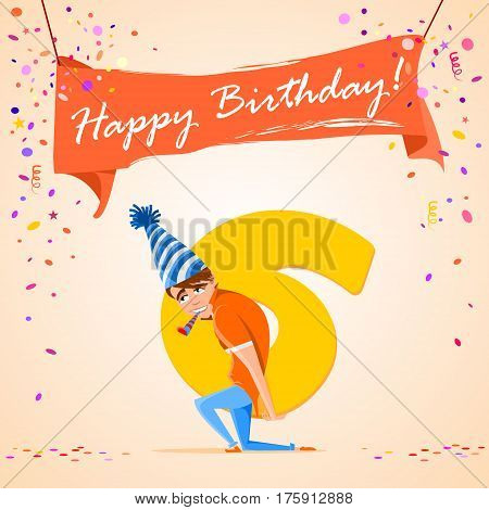 confused boy holding the number 6 on a colorful background. banner Happy Birthday. vector illustration.