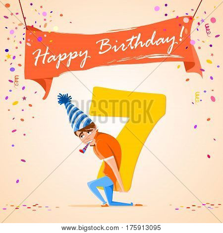 confused boy holding the number 7 on a colorful background. banner Happy Birthday. vector illustration.
