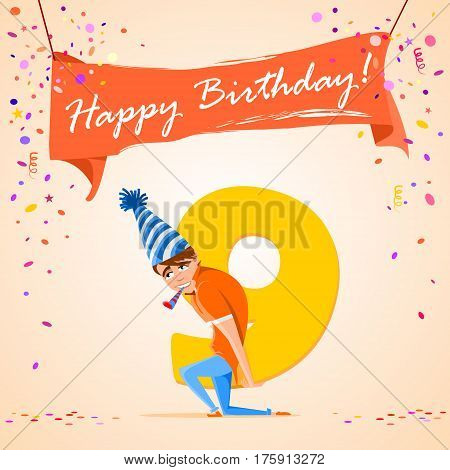 confused boy holding the number 9 on a colorful background. banner Happy Birthday. vector illustration.