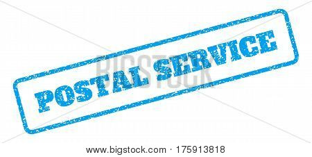 Blue rubber seal stamp with Postal Service text. Glyph caption inside rounded rectangular frame. Grunge design and dirty texture for watermark labels. Inclined sign on a white background.