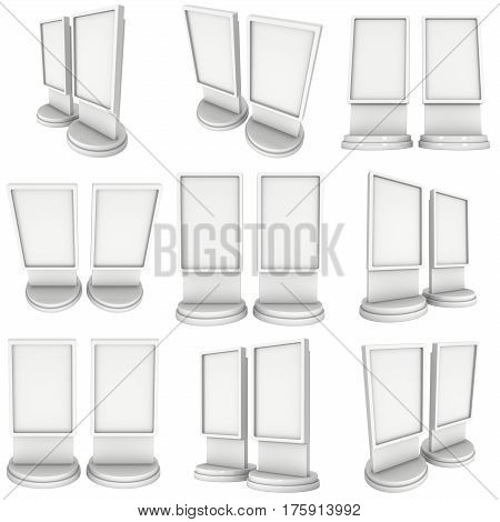 LCD Screen Stand Set. Blank Trade Show Booth. 3d render of lcd screen isolated on white background. High Resolution. Ad template for your expo design.