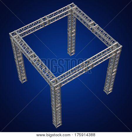 Steel truss girder rooftop construction. 3d render on blue