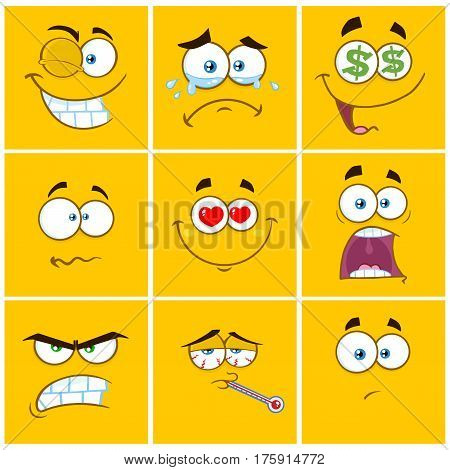 Yellow Cartoon Square Emoticons With Expression Set 1. Collection Isolated On White