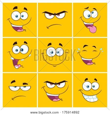 Yellow Cartoon Square Emoticons With Expression Set 2. Collection Isolated On White