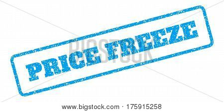 Blue rubber seal stamp with Price Freeze text. Glyph tag inside rounded rectangular shape. Grunge design and scratched texture for watermark labels. Inclined blue sticker on a white background.