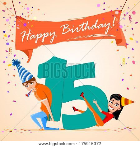 confused boy holding the number 15 on a colorful background. banner Happy Birthday. vector illustration.
