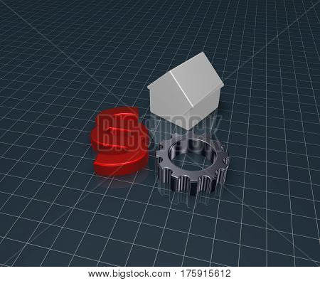 paragraph symbol house model and gear wheel - 3d illustration