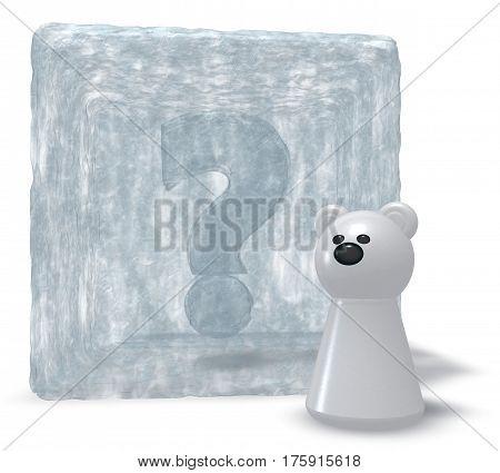polar bear and frozen question mark - 3d illustration