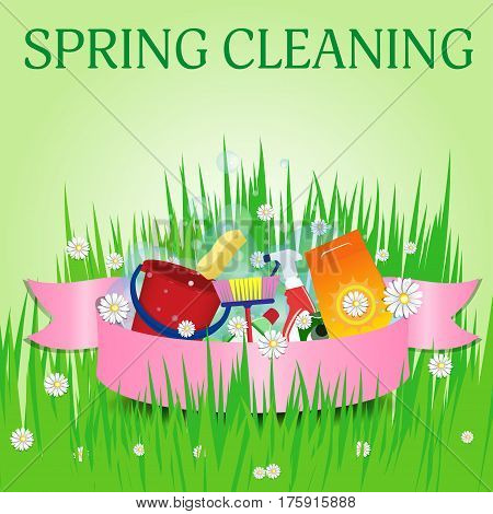 Spring cleaning. Poster template for services. Vector illustration.